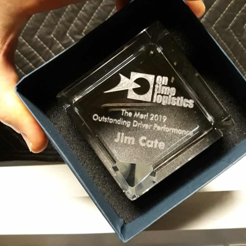 A clear glass award